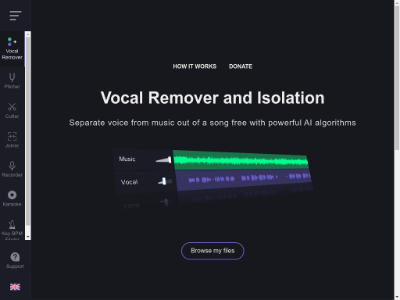 Vocal Remover and Isolation [AI] | Free Online 声带去除和隔离[AI] | 网上免费