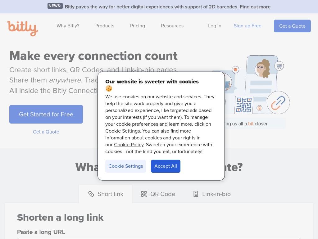 Скриншот сайта bit.ly