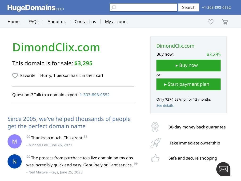 Скриншот сайта dimondclix.com