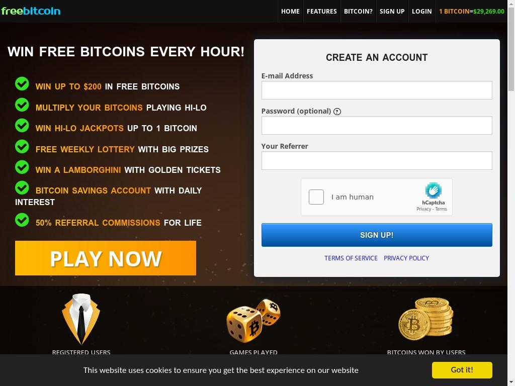 Скриншот сайта freebitco.in