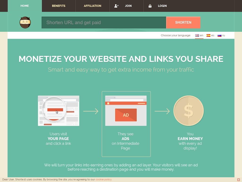 Скриншот сайта sh.st
