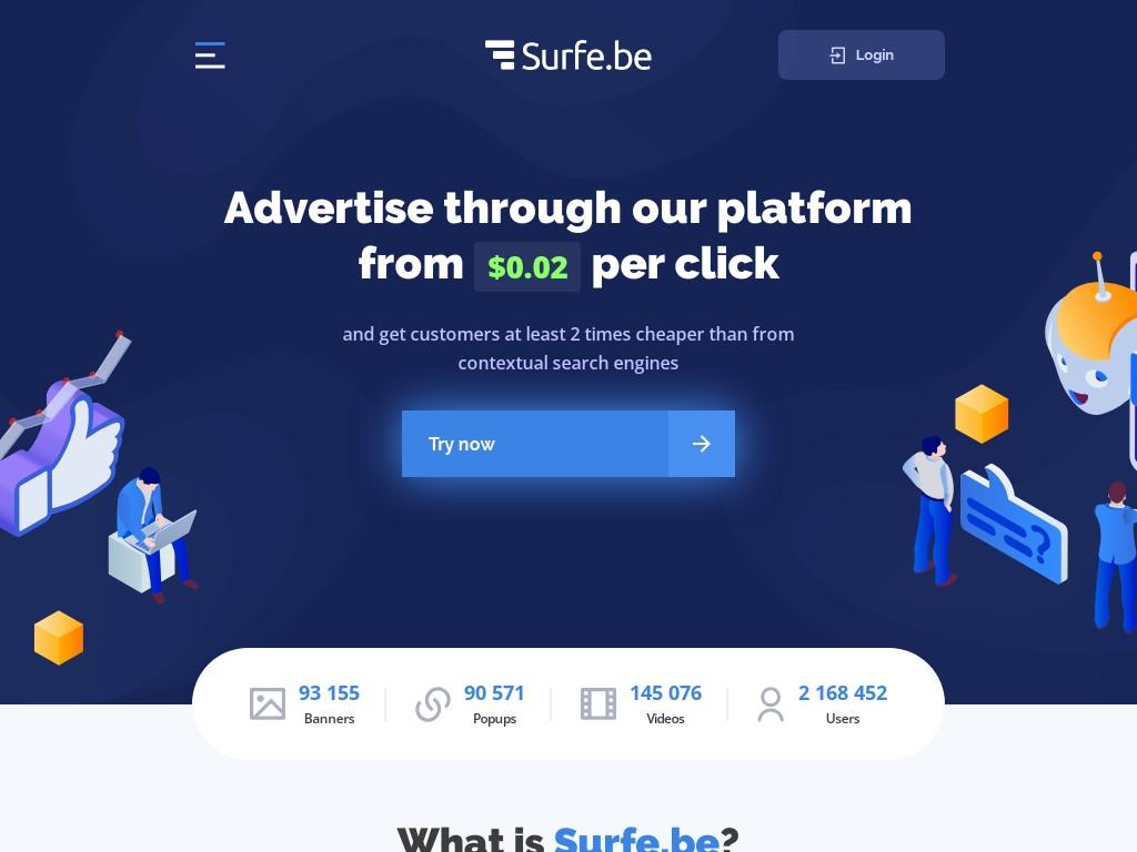 Скриншот сайта surfe.be