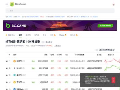 CoinGecko:加密货币价格与市值